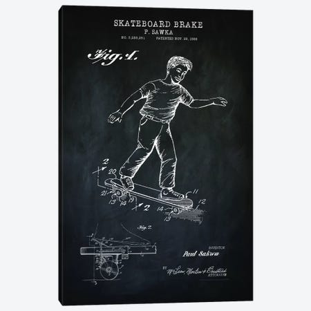 Skateboard Brake, Black Canvas Print #PAT173} by PatentPrintStore Canvas Wall Art