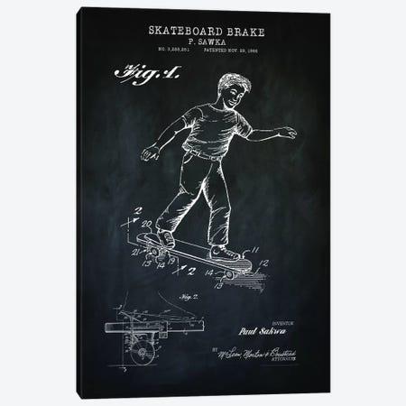 Skateboard Brake, Black Canvas Print #PAT173} by PatentPrintStore Canvas Wall Art