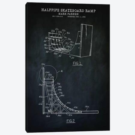 Skateboard Ramp, Black Canvas Print #PAT175} by PatentPrintStore Art Print