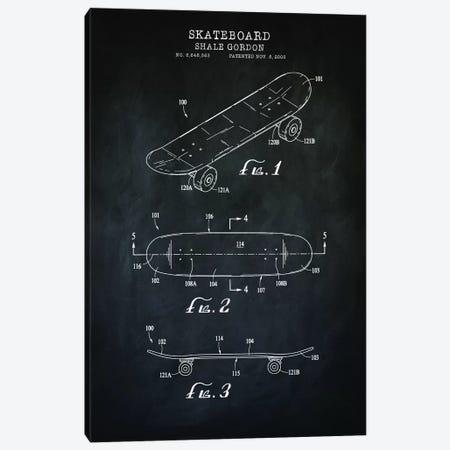 Skateboard, Black Canvas Print #PAT177} by PatentPrintStore Art Print