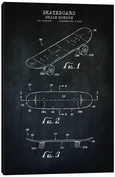 Skateboard, Black Canvas Art Print