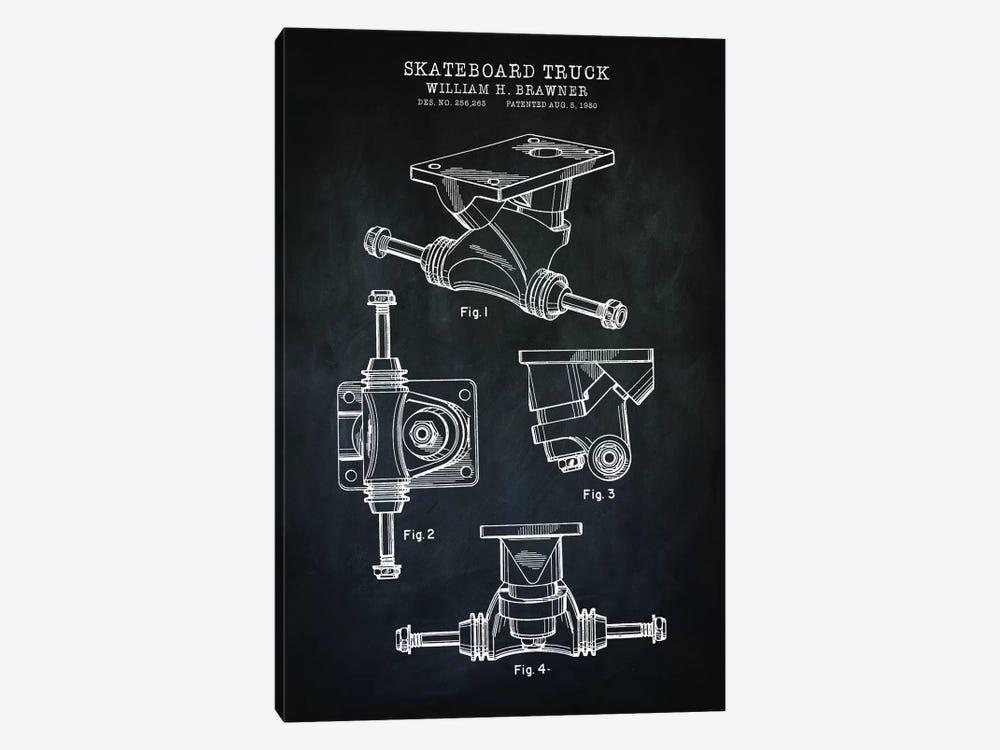 Skateboard Truck, Black by PatentPrintStore 1-piece Canvas Art Print