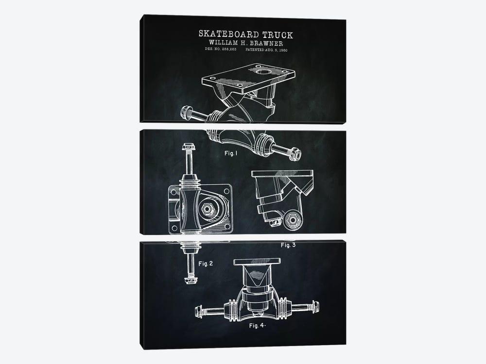 Skateboard Truck, Black by PatentPrintStore 3-piece Art Print