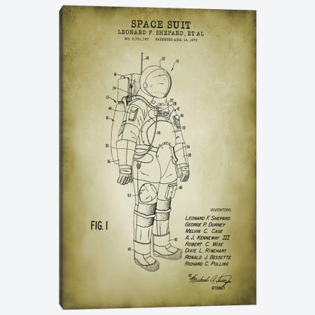 Spacesuit I Canvas Print #PAT180} by PatentPrintStore Art Print