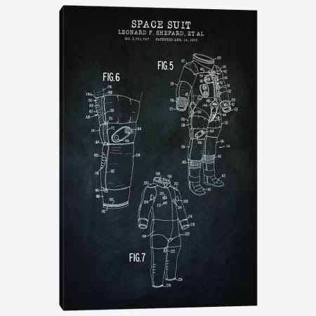 Spacesuit II Canvas Print #PAT181} by PatentPrintStore Art Print