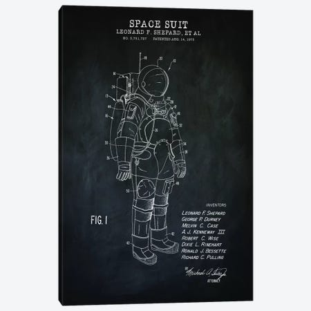 Spacesuit I, Black Canvas Print #PAT184} by PatentPrintStore Canvas Artwork