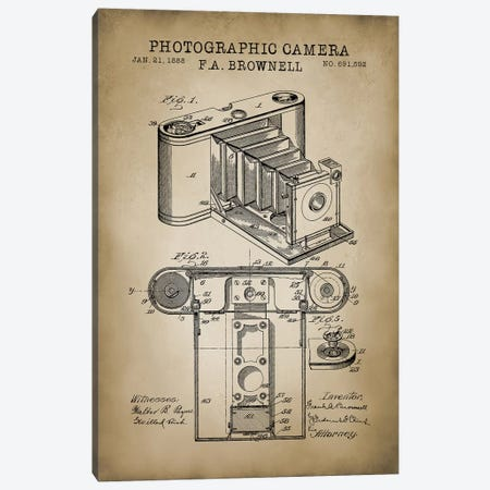 Brownell Camera, Beige Canvas Print #PAT18} by PatentPrintStore Canvas Print