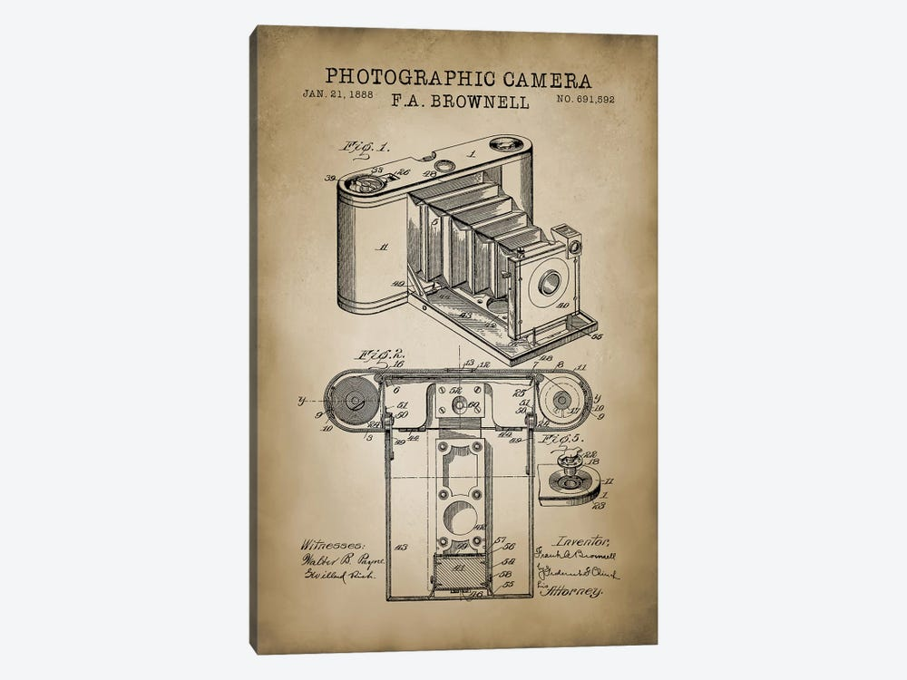 Brownell Camera, Beige by PatentPrintStore 1-piece Art Print