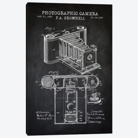 Brownell Camera, Black Canvas Print #PAT19} by PatentPrintStore Art Print