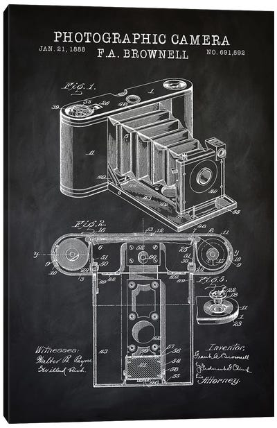 Brownell Camera, Black Canvas Art Print