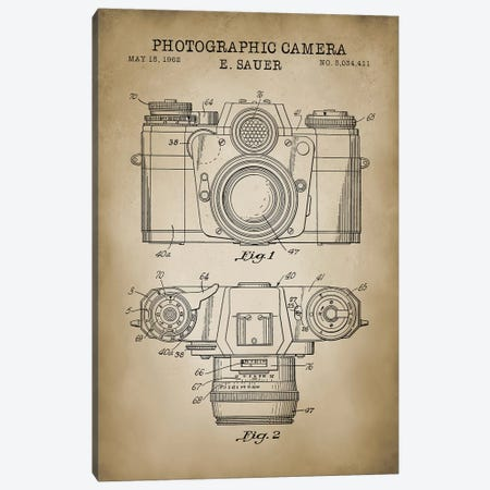 1962 Sauer Camera, Beige Canvas Print #PAT1} by PatentPrintStore Canvas Art