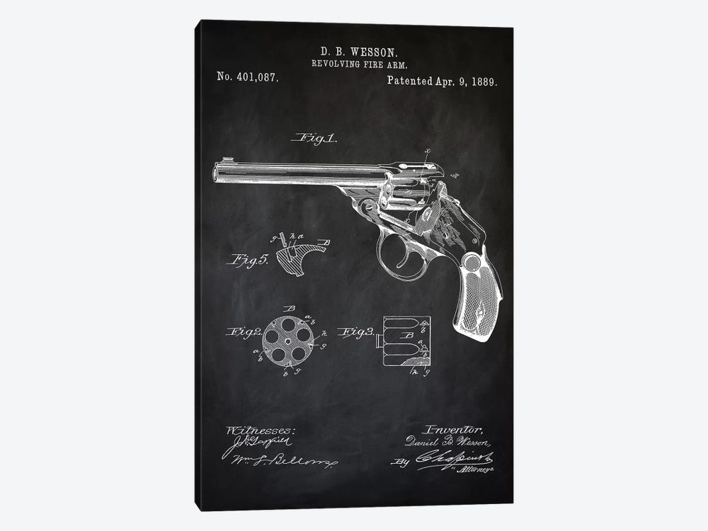 D.B. Wesson Revolver I by PatentPrintStore 1-piece Art Print