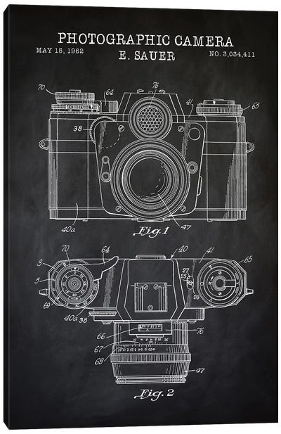 1962 Sauer Camera, Black Canvas Art Print