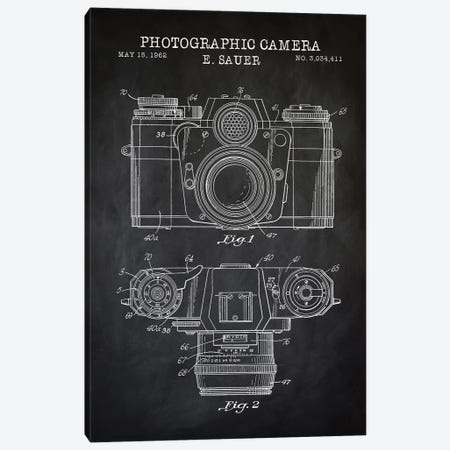 1962 Sauer Camera, Black Canvas Print #PAT2} by PatentPrintStore Canvas Artwork