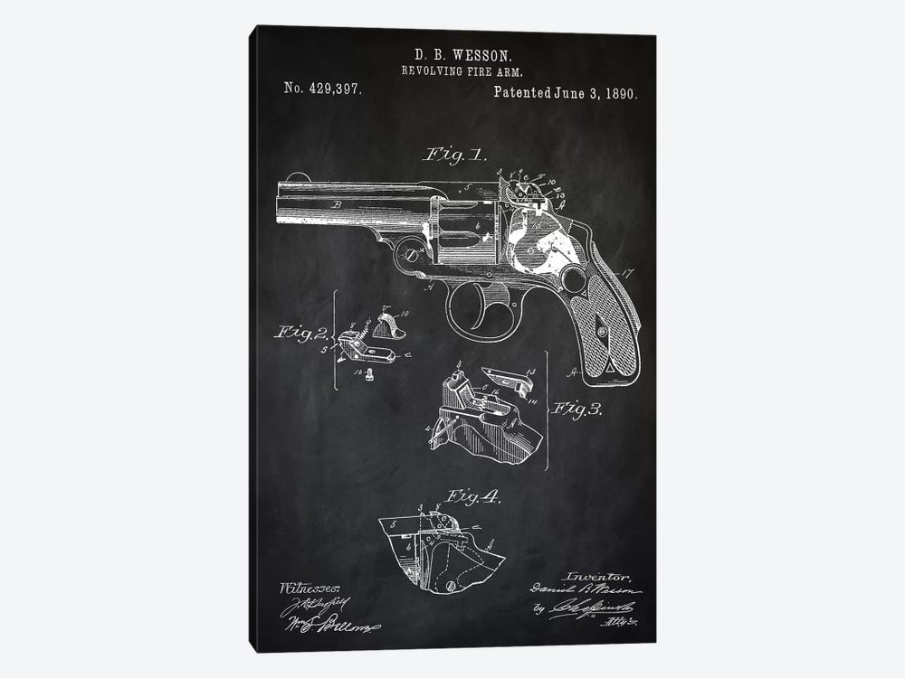D.B. Wesson Revolver II by PatentPrintStore 1-piece Art Print
