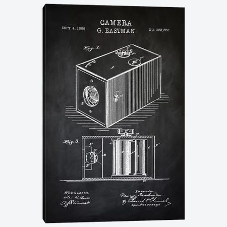 Eastman Camera, Black Canvas Print #PAT33} by PatentPrintStore Art Print