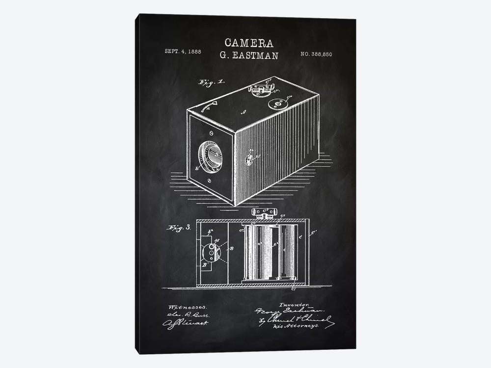 Eastman Camera, Black by PatentPrintStore 1-piece Canvas Artwork