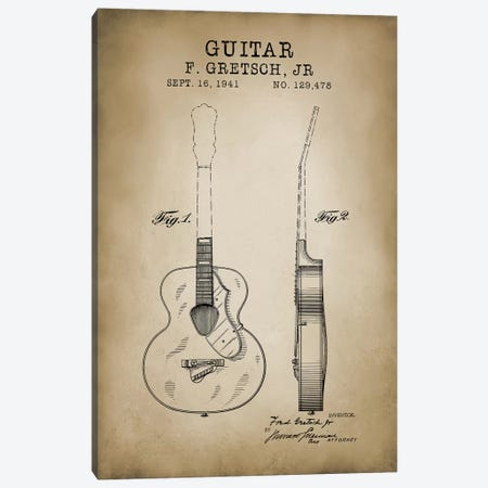 F. Gretsch, Jr. Guitar Canvas Print #PAT38} by PatentPrintStore Art Print