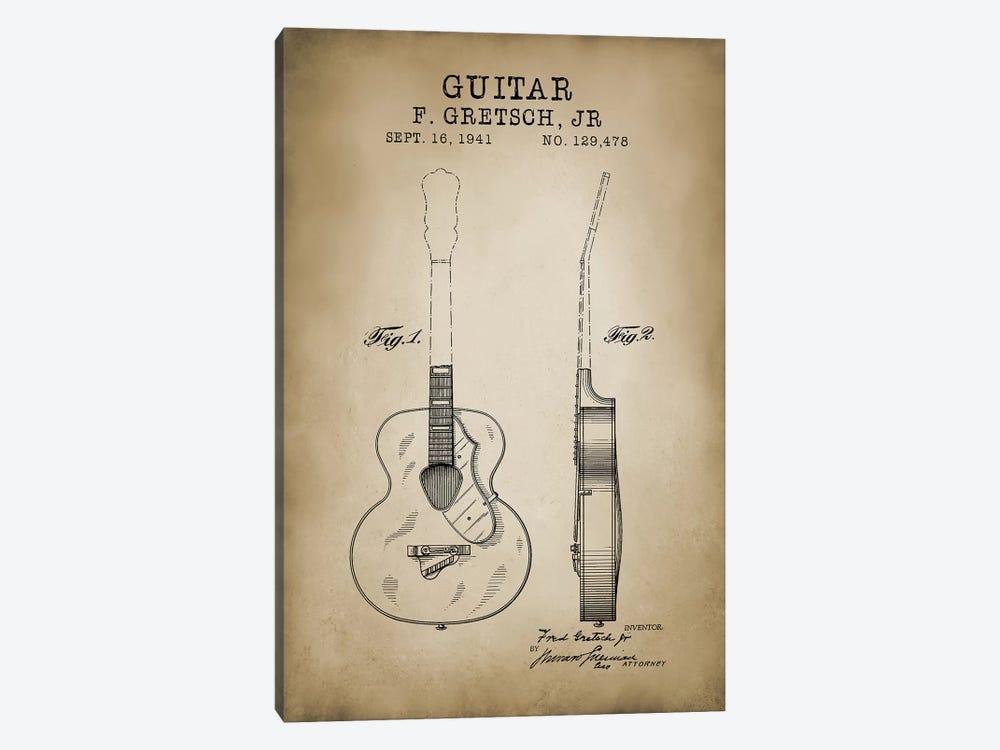 F. Gretsch, Jr. Guitar by PatentPrintStore 1-piece Canvas Art Print
