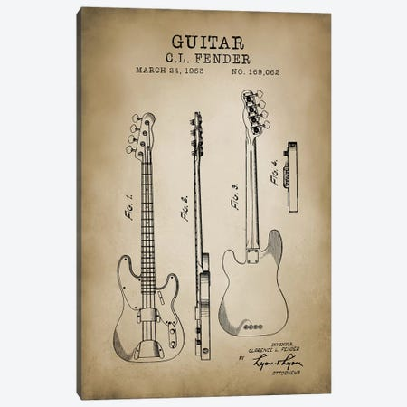 Fender Guitar Canvas Print #PAT45} by PatentPrintStore Art Print