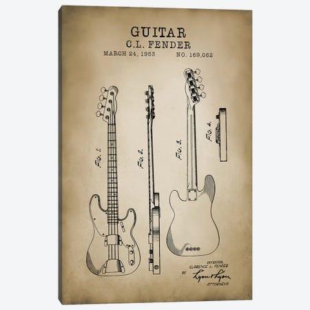 Fender Guitar Canvas Print #PAT45} by PatentPrintStore Art Print
