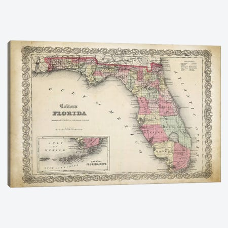 Florida Map, 1863 Canvas Print #PAT56} by PatentPrintStore Canvas Artwork