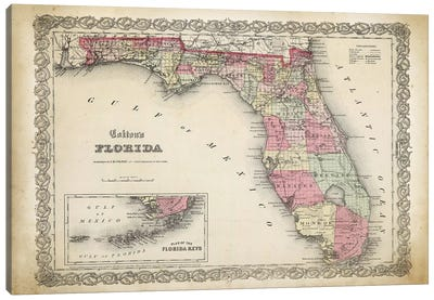 Florida Map, 1863 Canvas Art Print
