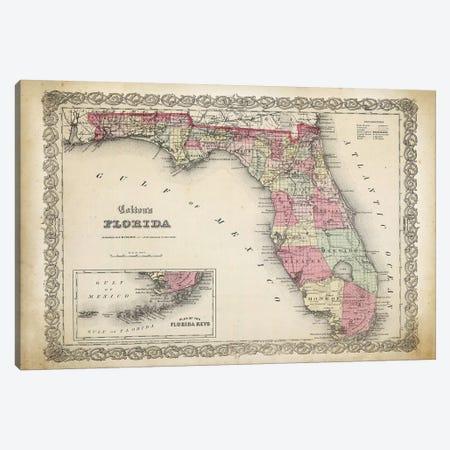 Florida Map, 1863 Canvas Print #PAT56} by PatentPrintStore Canvas Artwork