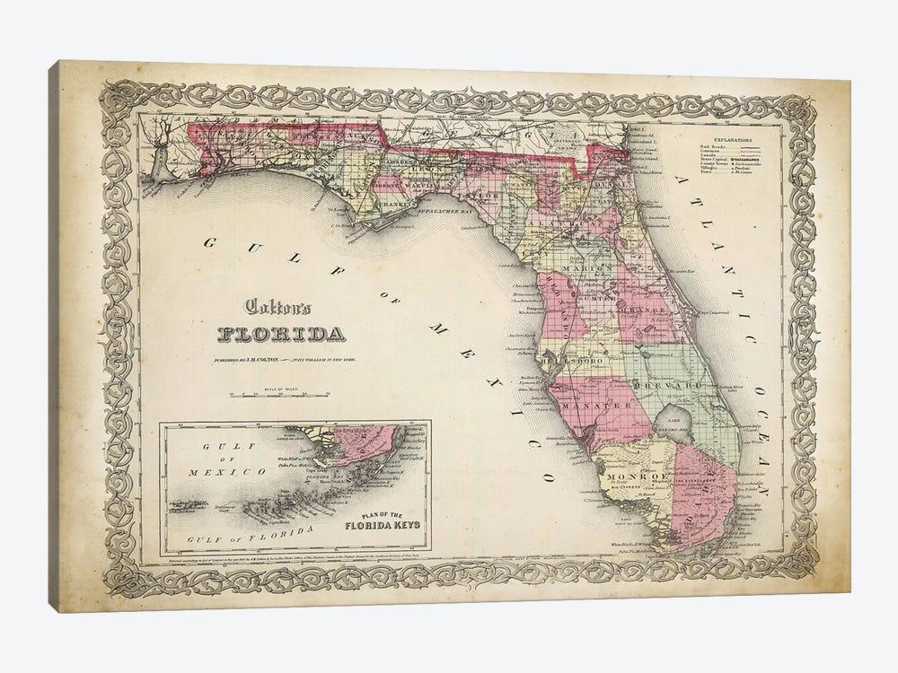 Florida Map, 1863 by PatentPrintStore 1-piece Canvas Print