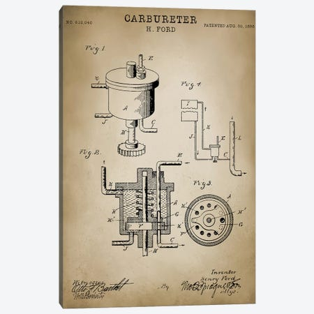 "Ford ""Carbureter"" Canvas Print #PAT57} by PatentPrintStore Canvas Art"