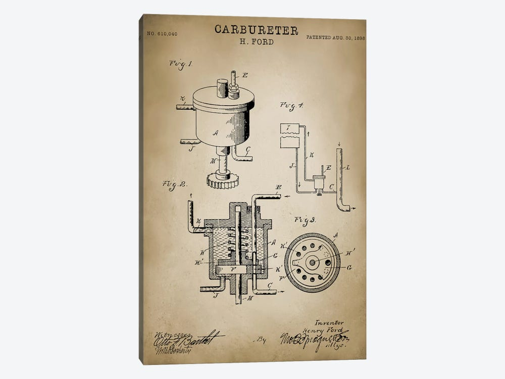 "Ford ""Carbureter"" by PatentPrintStore 1-piece Canvas Art"