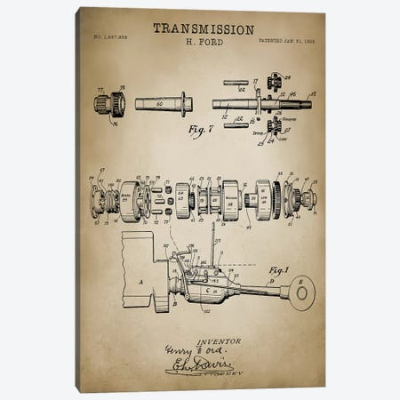 Ford Transmission, 1928 Canvas Print #PAT59} by PatentPrintStore Art Print