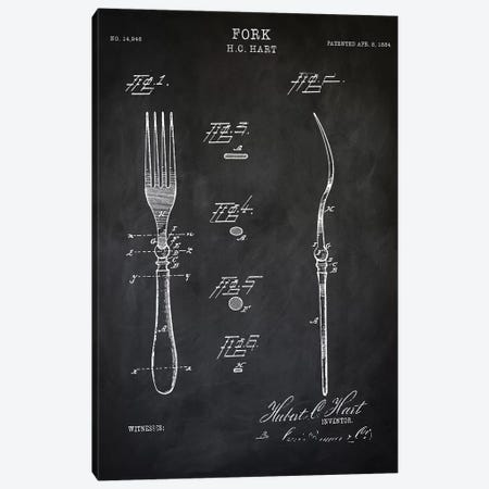 Fork Canvas Print #PAT60} by PatentPrintStore Canvas Artwork