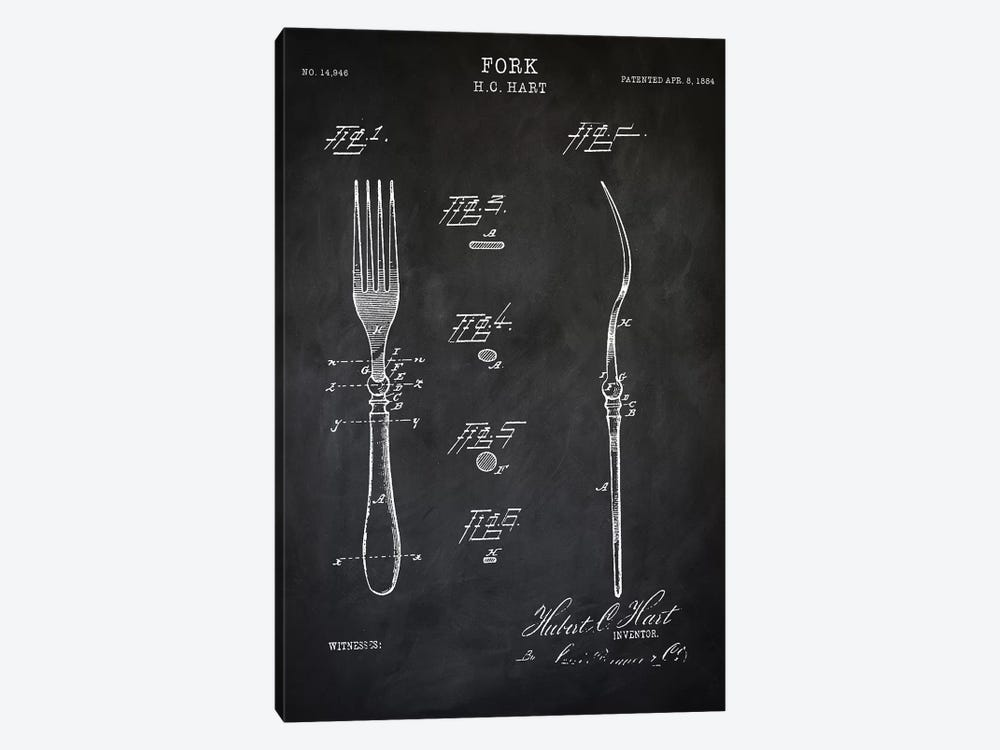Fork by PatentPrintStore 1-piece Canvas Art