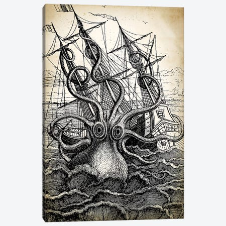 Kraken Canvas Print #PAT82} by PatentPrintStore Canvas Artwork