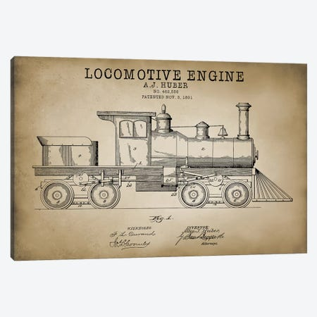 Locomotive Engine, 1891 Canvas Print #PAT84} by PatentPrintStore Art Print