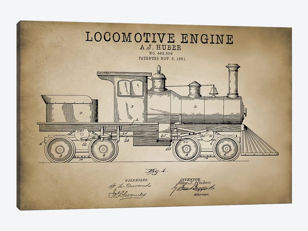 Locomotive Engine, 1891 by PatentPrintStore 1-piece Canvas Wall Art