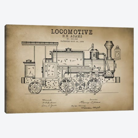 Locomotive, 1886 Canvas Print #PAT85} by PatentPrintStore Canvas Art Print
