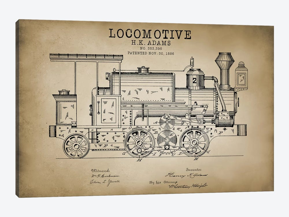 Locomotive, 1886 by PatentPrintStore 1-piece Canvas Print