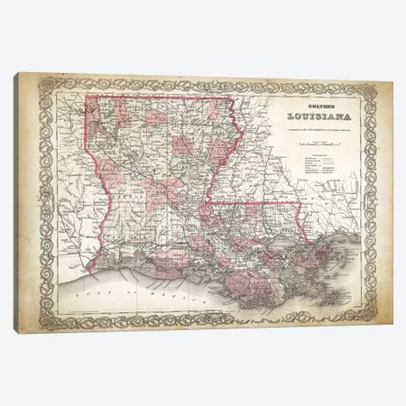 Louisiana Map, 1886 Canvas Print #PAT86} by PatentPrintStore Art Print