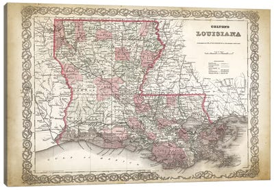 Louisiana Map, 1886 Canvas Art Print