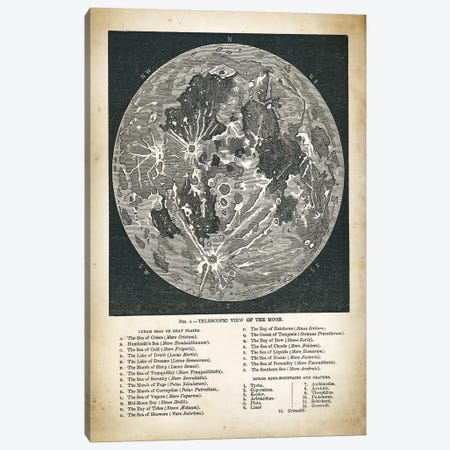 Moon Map Canvas Print #PAT92} by PatentPrintStore Canvas Art Print