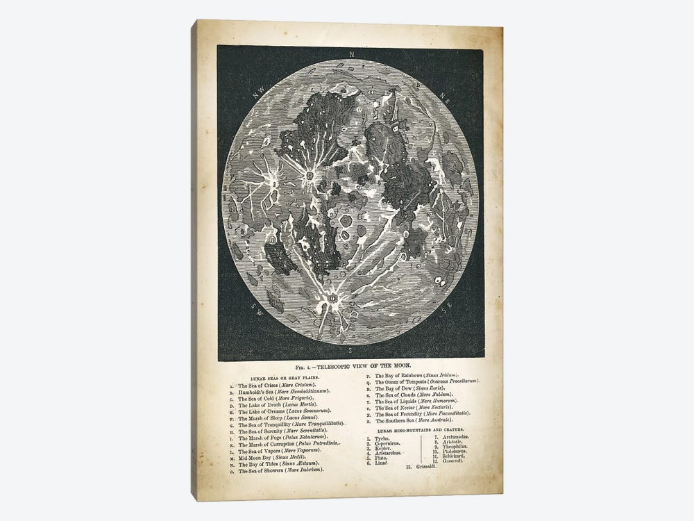 Moon Map by PatentPrintStore 1-piece Canvas Art Print