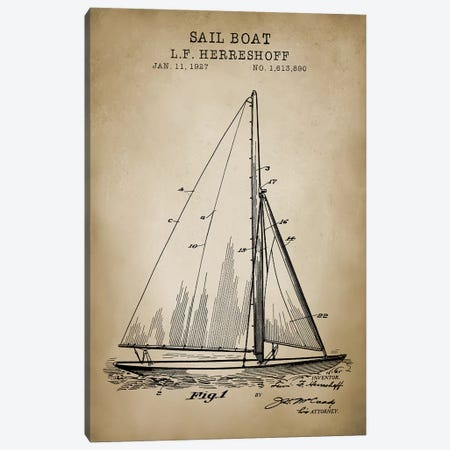 Nautical, Sailboat Canvas Print #PAT96} by PatentPrintStore Canvas Wall Art