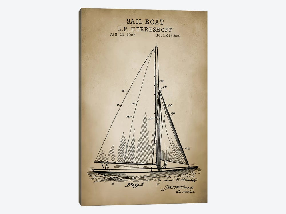 Nautical, Sailboat by PatentPrintStore 1-piece Art Print