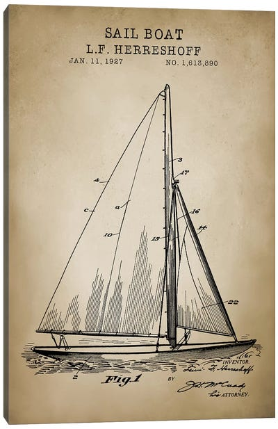 Nautical, Sailboat Canvas Art Print