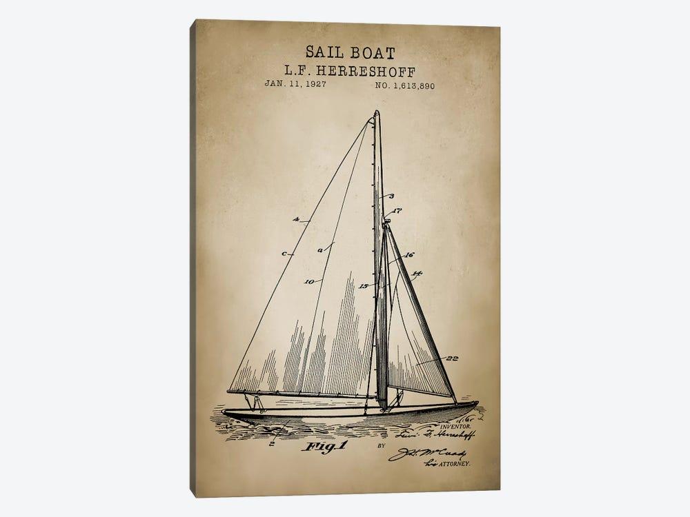 Nautical, Sailboat by PatentPrintStore 1-piece Art Print