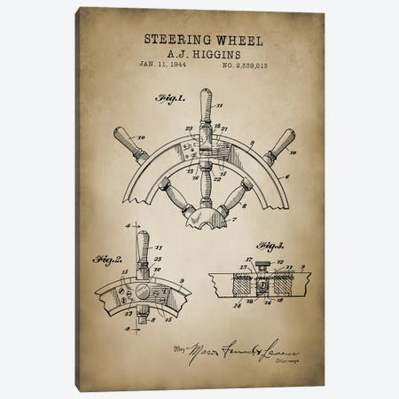 Nautical, Steering Wheel Canvas Print #PAT97} by PatentPrintStore Canvas Artwork