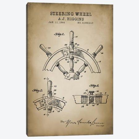 Nautical, Steering Wheel Canvas Print #PAT97} by PatentPrintStore Canvas Artwork