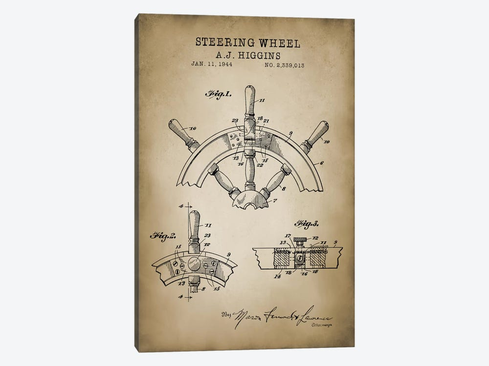 Nautical, Steering Wheel by PatentPrintStore 1-piece Canvas Art
